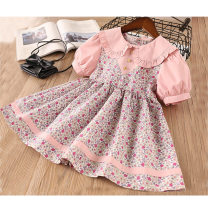 Dress Pink female Other / other Cotton 90% other 10% summer Europe and America Short sleeve Broken flowers cotton other Class B 18 months, 2 years old, 3 years old, 4 years old, 5 years old, 6 years old, 7 years old, 8 years old, 9 years old, 10 years old
