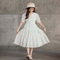 Dress white female Keninke 120cm,130cm,140cm,150cm,160cm,165cm Cotton 100% summer princess Short sleeve Solid color cotton Princess Dress Class B Four, five, six, seven, eight, nine, ten, eleven, twelve, thirteen, fourteen
