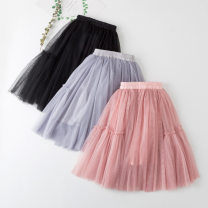 skirt 120cm,130cm,110cm,140cm,150cm,160cm Black, pink, grey Other / other female Cotton 90% other 10% spring and autumn skirt princess Solid color Lotus leaf edge cotton Class A