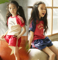 suit Other / other Royal Blue Shorts + western red top, red shorts + off white top 110cm,120cm,130cm,140cm,150cm,160cm,165cm female summer Korean version Short sleeve + pants 2 pieces routine There are models in the real shooting Socket nothing other Pure cotton (100% cotton content) elder