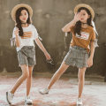suit Other / other White, brown 110cm,120cm,130cm,140cm,150cm,160cm female summer Korean version Short sleeve + pants 2 pieces routine There are models in the real shooting Socket nothing other cotton elder Expression of love Check English Class B Cotton 97% other 3%