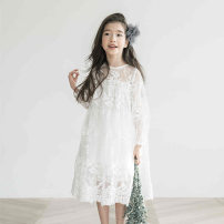 Dress White, short sleeve lace dress female Other / other 110cm,120cm,130cm,140cm,150cm,160cm,165cm Cotton 90% other 10% spring and autumn Korean version Long sleeves other Cotton blended fabric other 5, 6, 4, 7, 8, 9, 10, 11, 12, 13, 14, 2, 3