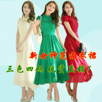 Dress Summer of 2019 Milky white, green, red S,M,L,XL,XXL longuette singleton  Short sleeve commute Lotus leaf collar middle-waisted Solid color Socket Big swing Petal sleeve Retro zipper More than 95% Chiffon polyester fiber