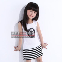 skirt White, black Other / other female Cotton 100% summer skirt Korean version stripe Strapless skirt cotton Class A
