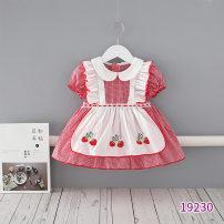 Dress red-checkered pattern female momoidea 73cm,80cm,90cm,100cm,110cm Cotton 99% other 1% summer Sweet Short sleeve other cotton Princess Dress Class A 12 months, 18 months, 2 years, 3 years, 4 years, 5 years, 6 months, 9 months Chinese Mainland