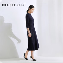 Dress Winter 2020 Ink blue 155/36/S 160/38/M 165/40/L 170/42/XL 175/44/XXL Mid length dress singleton  Nine point sleeve commute stand collar High waist Solid color Socket A-line skirt routine Others 35-39 years old Type X Bblluuee / pink and blue wardrobe Simplicity Button 901Z505-388478