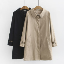 Middle aged and old women's wear Autumn of 2019 Khaki, black XL [suggested 120-140 kg], 2XL [suggested 140-160 kg], 3XL [suggested 160-180 kg], 4XL [suggested 180-210 kg] leisure time Jacket / jacket easy singleton  Solid color Cardigan moderate Polo collar Medium length (length 50-70cm) routine