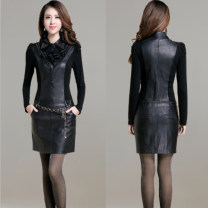 Dress Autumn of 2019 S,M,L,XL,2XL,3XL,4XL Middle-skirt singleton  Long sleeves commute square neck middle-waisted Solid color Socket other routine Others Type H Korean version 51% (inclusive) - 70% (inclusive) knitting PU