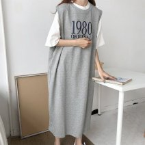 Other suits Spring 2020 Grey single vest skirt, black single vest skirt, grey skirt + white T-shirt, black skirt + white T-shirt M,L,XL,XXL 18-25 years old