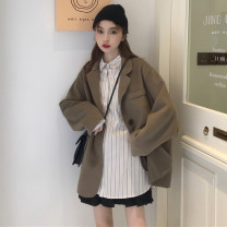 woolen coat Autumn of 2019 S,M,L,XL polyester fiber 31% (inclusive) - 50% (inclusive) Medium length Long sleeves commute Single breasted routine tailored collar Straight cylinder Korean version Other / other 18-24 years old Solid color polyester fiber