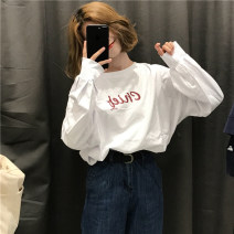 T-shirt white Autumn 2020 Long sleeves Crew neck easy Medium length routine commute cotton 96% and above 18-24 years old Korean version youth letter printing