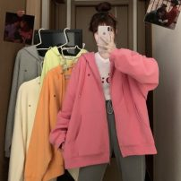 Sweater / sweater Autumn 2020 Apricot , grey , rose red , orange , canary yellow S,M,L,XL,2XL Long sleeves Medium length Cardigan singleton  routine Hood easy commute routine Solid color 18-24 years old 31% (inclusive) - 50% (inclusive) Other / other Korean version zipper