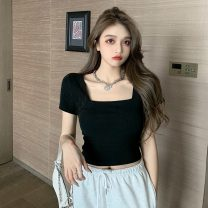 T-shirt Gray, white, black Average size Summer 2021 Short sleeve square neck Self cultivation have cash less than that is registered in the accounts routine commute other 31% (inclusive) - 50% (inclusive) 18-24 years old Korean version other Solid color