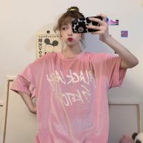 T-shirt White, pink, black Average size Summer 2020 Short sleeve Crew neck easy Regular routine commute other 31% (inclusive) - 50% (inclusive) 18-24 years old Korean version