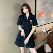 Dress Summer 2020 Black, khaki S, M Middle-skirt singleton  Short sleeve commute V-neck High waist Solid color double-breasted Pleated skirt routine Others 18-24 years old Type A Korean version
