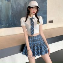 Fashion suit Summer 2020 S,M,L Top + red tie, top + blue tie, blue pleated skirt, red pleated skirt 18-25 years old Other / other 31% (inclusive) - 50% (inclusive) polyester fiber