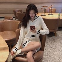 Dress Spring 2020 Beige Average size Short skirt singleton  Long sleeves commute Admiral High waist Solid color routine 18-24 years old Other / other Korean version 31% (inclusive) - 50% (inclusive) cotton