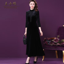 Dress Spring 2021 black L XL 2XL 3XL 4XL 5XL longuette singleton  Long sleeves commute Crew neck High waist Solid color zipper A-line skirt routine Others 35-39 years old Type A Wang Xiaoya Korean version Three dimensional decorative zipper 3D W-BM-912331 81% (inclusive) - 90% (inclusive)