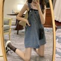 Dress Summer 2021 Denim blue Average size Short skirt singleton  Sleeveless commute Loose waist Solid color Socket straps 18-24 years old Type A Xianweiya Korean version 8106# 81% (inclusive) - 90% (inclusive) Denim polyester fiber Polyester 84.4% cotton 15.6% Pure e-commerce (online only)