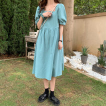 Dress Summer 2021 Ni Lan Tu Huang Bai Average size Mid length dress Short sleeve Sweet square neck Loose waist Solid color Socket other other Others 18-24 years old Xianweiya 81% (inclusive) - 90% (inclusive) other polyester fiber Polyester 88 . nine %  Cotton 11 . one % college