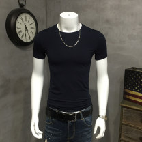 T-shirt Fashion City Navy, white, black routine M,L,XL,2XL,3XL,4XL,5XL Others Short sleeve Crew neck Self cultivation daily summer youth routine tide Slub yarn 2021 Solid color other cotton other No iron treatment Designer brand 70% (inclusive) - 79% (inclusive)