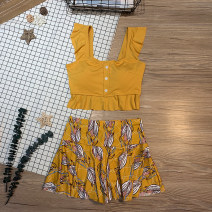 Split swimsuit other Yellow, gray, pink M,L,XL Skirt split swimsuit With chest pad without steel support Polyester, others female