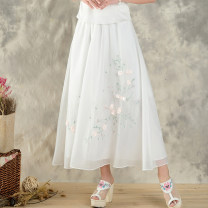 skirt Summer of 2018 Average size white Mid length dress Versatile Natural waist A-line skirt Solid color Type A 25-29 years old 51% (inclusive) - 70% (inclusive) Chiffon