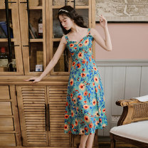 Dress Summer 2020 Chrysanthemum with blue background S,M,L,XL Mid length dress singleton  Sleeveless commute square neck High waist Broken flowers A-line skirt camisole 18-24 years old Type A Retro