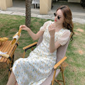Dress Summer 2021 Coat, dress S,M,L,XL Mid length dress singleton  Short sleeve commute square neck middle-waisted Broken flowers Socket A-line skirt puff sleeve Others 18-24 years old Type A Retro fold 31% (inclusive) - 50% (inclusive) Chiffon