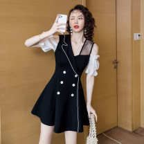 Dress Summer 2021 black S,M,L,XL,2XL Short skirt singleton  Short sleeve commute V-neck High waist Solid color zipper A-line skirt bishop sleeve 18-24 years old Type A lady Splicing 30% and below