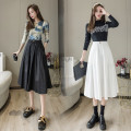 skirt Summer 2021 S,M,L,XL White, black Mid length dress commute High waist A-line skirt Solid color Type A 25-29 years old 31% (inclusive) - 50% (inclusive) cotton pocket Korean version