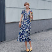 Dress Summer 2020 Green, blue S,M,L,XL Mid length dress singleton  Short sleeve commute V-neck High waist Decor other A-line skirt puff sleeve Others Type A Korean version 71% (inclusive) - 80% (inclusive) Chiffon polyester fiber