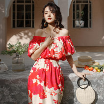 Dress Spring 2021 Picture Decor S,M,L Mid length dress singleton  Short sleeve Sweet One word collar Elastic waist Decor One pace skirt puff sleeve Breast wrapping 18-24 years old Type A backless Bohemia