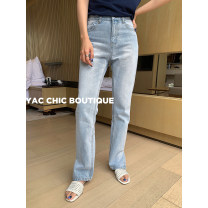 Jeans Autumn 2020 Light denim S,M,L trousers High waist Straight pants Thin money 25-29 years old other Cotton denim light colour 96% and above