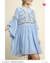 Dress Summer 2020 sky blue S, M Mid length dress singleton  commute Crew neck pagoda sleeve Others Retro