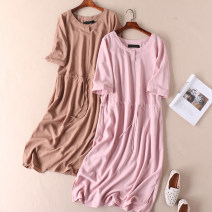 Dress Summer 2020 Powder, Khaki twelve , fourteen , sixteen , eighteen longuette singleton  elbow sleeve commute Crew neck High waist Solid color Socket other routine Others Type X Other / other Simplicity Tuck, lace up More than 95% other