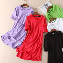 Dress Summer 2020 White, black, green, purple, red L,XL Middle-skirt singleton  Short sleeve street Hood High waist Solid color Socket A-line skirt routine Type A Other / other 51% (inclusive) - 70% (inclusive) cotton Sports & Leisure