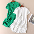 Dress Summer 2020 White, grass green Average size Middle-skirt singleton  Short sleeve commute stand collar High waist Solid color Socket Ruffle Skirt routine Others Type H Other / other Simplicity Button More than 95% other