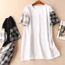 Dress Summer of 2019 White, black Average size Short skirt singleton  Short sleeve commute Crew neck Loose waist lattice Socket routine Type H Other / other literature Splicing More than 95% cotton
