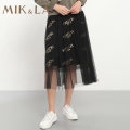 skirt Spring 2020 S M L XL XXL Black / 80 Mid length dress motion Natural waist A-line skirt letter Type A 35-39 years old MAI3AQ1439 More than 95% MIK&LA polyester fiber Gauze Polyester 100%