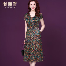 Dress Summer 2021 green L XL 2XL 3XL 4XL Mid length dress singleton  Short sleeve commute V-neck middle-waisted Decor zipper A-line skirt routine Others 35-39 years old Philead / Van Leeden Korean version Pocket screen zipper printing MSY605-2 81% (inclusive) - 90% (inclusive) silk