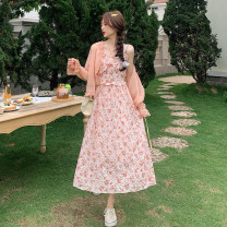 Dress Summer 2021 One piece sunscreen, one piece suspender dress S. M, l, average size longuette Two piece set Sleeveless commute High waist Decor A-line skirt routine camisole 18-24 years old Type A Korean version
