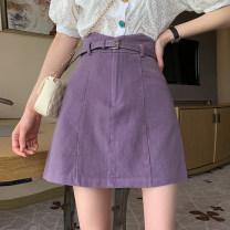 skirt Spring 2021 S,M,L Dark purple, black Short skirt commute High waist A-line skirt Solid color Type A 18-24 years old Korean version