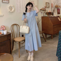 Dress Summer 2021 White, green, blue Average size longuette singleton  Short sleeve commute square neck High waist Solid color Socket A-line skirt routine Others 18-24 years old Type A Korean version A855 30% and below other other