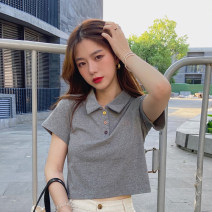 T-shirt Gray, white, purple, black M,L,XL Summer 2021 Short sleeve Polo collar Straight cylinder have cash less than that is registered in the accounts routine commute other 30% and below 18-24 years old Korean version youth Color matching
