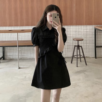 Dress Spring 2021 black S, M Short skirt singleton  Short sleeve commute Polo collar High waist Solid color Three buttons Irregular skirt routine Others 18-24 years old Type A Korean version Button