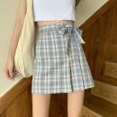 skirt Summer 2021 S,M,L Blue grid, purple grid Short skirt commute High waist A-line skirt lattice Type A 18-24 years old Bow, asymmetric Korean version
