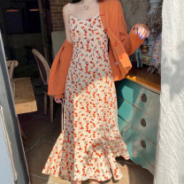 Dress Spring 2021 S. M, l, average size Mid length dress Two piece set Sleeveless commute other High waist Broken flowers Socket A-line skirt camisole 18-24 years old Type A Korean version