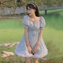 Dress Summer 2021 Pink dress piece, blue dress piece, white skirt piece S. M, l, average size Short skirt singleton  Short sleeve commute square neck High waist other Socket A-line skirt puff sleeve Others 18-24 years old Type A Korean version