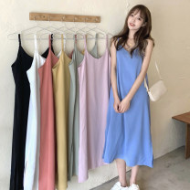 Dress Summer 2021 Orange, white, black, blue, pink, light green, yellow Average size Mid length dress singleton  Sleeveless commute V-neck Loose waist Solid color Socket other routine camisole 18-24 years old Type H Korean version 30% and below